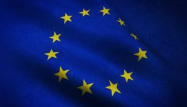 A closeup shot of realistic waving flag of Europe with interesting textures